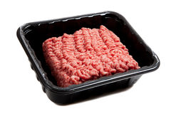 Raw hamburger meat on white Royalty Free Stock Image