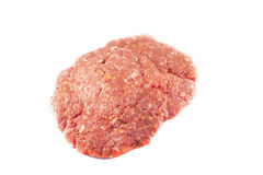 Raw hamburger minced meat beef. Isolated on white background Stock Photos