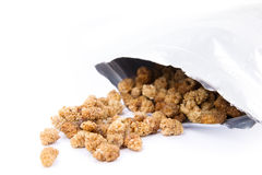 Raw and healthy organic mulberries in zip bag Stock Photos