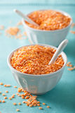 Raw healthy red lentils in bowl Royalty Free Stock Photos