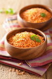 Raw healthy red lentils in bowl Royalty Free Stock Image