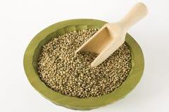 Raw hemp marijuana seeds wooden laddle close up Stock Image