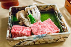 Raw Hida beef. Raw Hida beef with mushroom Royalty Free Stock Images