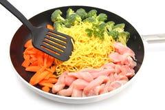 Raw Hokkien Noodle and ingredient Stock Photos