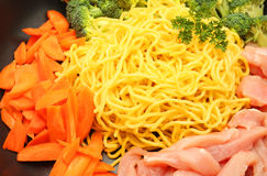 Raw Hokkien Noodle and ingredient Royalty Free Stock Images