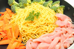 Raw Hokkien Noodle and ingredient Stock Images