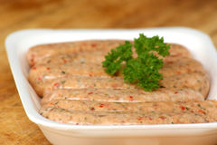 Raw home made sausages Stock Photos