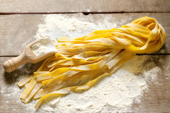Raw home made tagliatelle Stock Photography