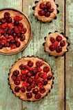 Raw homemade chocolate cakes with fresh cherries and raspberries Royalty Free Stock Images