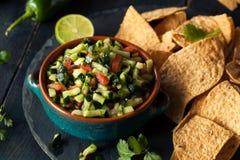 Raw Homemade Cucumber Pico De Gallo Salsa stock image