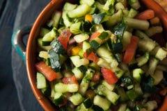 Raw Homemade Cucumber Pico De Gallo Salsa Stock Photography
