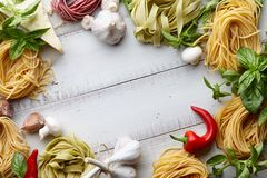 Raw homemade italian pasta cooking process Stock Images