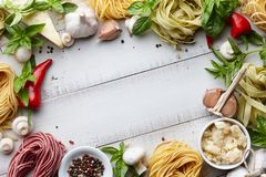 Raw homemade italian pasta cooking process Royalty Free Stock Photos