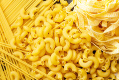 Raw homemade italian pasta, macaroni, spaghetti, and fettucine Stock Image