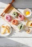 Raw homemade pasta on board Stock Photo