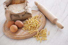 Raw homemade pasta and ingredients for pasta Royalty Free Stock Photo