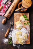 Raw Homemade Ravioli Stock Photos
