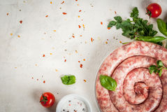 Raw homemade sausage Royalty Free Stock Photography