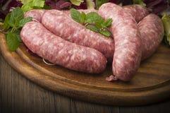 Raw homemade sausage Stock Images