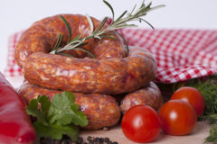 Raw homemade sausages Stock Photography