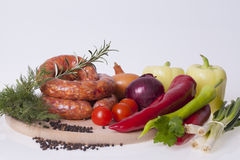 Raw homemade sausages Royalty Free Stock Image