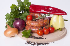 Raw homemade sausages Stock Photos