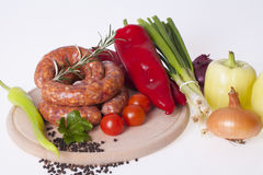 Raw homemade sausages Royalty Free Stock Photos