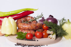 Raw homemade sausages Royalty Free Stock Photo