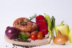 Raw homemade sausages Stock Photos