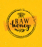 Raw Honey Creative Sign Vector Concept. Organic Healthy Food Design Element With Bee Icon On Rough Stained Background Stock Photos