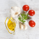 Raw Ingredients. Fresh raw ingredients typical of the italian cuisine Royalty Free Stock Photo