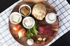 Raw ingredients for Beef Stroganoff Royalty Free Stock Images