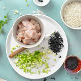Raw Ingredients cooking poke bowl chicken meat top view royalty free stock photo