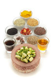 Raw ingredients for Indian mango pickle. Royalty Free Stock Images
