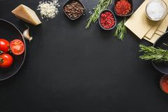 Raw ingredients for lasagna, pasta,vegetables and herbs on black. Copy space stock image