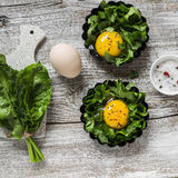 Raw  ingredients for making baked eggs. Fresh sorrel and eggs Stock Images