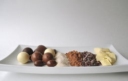 Raw ingredients for making chocolate Royalty Free Stock Photography