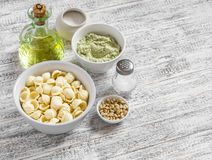 Raw ingredients for making a vegetarian pasta - orecchiette pasta, broccoli and pine nuts pesto sauce, olive oil Royalty Free Stock Photography