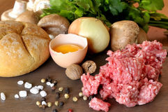 Raw ingredients for meatballs Stock Images