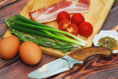 Raw ingredients for nutritious breakfast cooking concept Royalty Free Stock Images