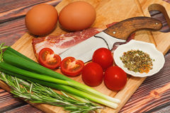 Raw ingredients for omelet cooking royalty free stock images