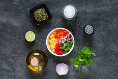 Raw ingredients for pineapple salsa. Top view Royalty Free Stock Photography