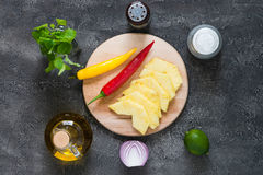 Raw ingredients for pineapple salsa. Top view Royalty Free Stock Photos