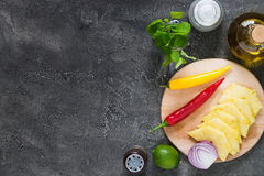 Raw ingredients for pineapple salsa. Top view, copy space Royalty Free Stock Image