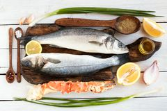 Raw ingredients for seafood dish stock photography