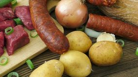 Raw ingredients for stew, goulash or soup. stock video footage