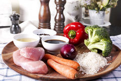 Raw ingredients for Teriyaki Chicken with Rice Royalty Free Stock Photos