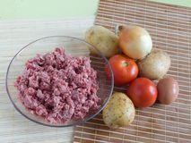 Raw ingridients. For meal on cook table stock photo