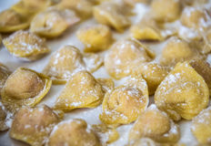 Raw italian cappelletti, fresh homemade pasta. Stock Photo
