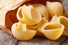 Raw Italian macaroni lumaconi in a paper bag stock photography